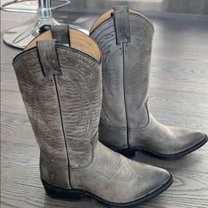 Frye grey cowboy style boots